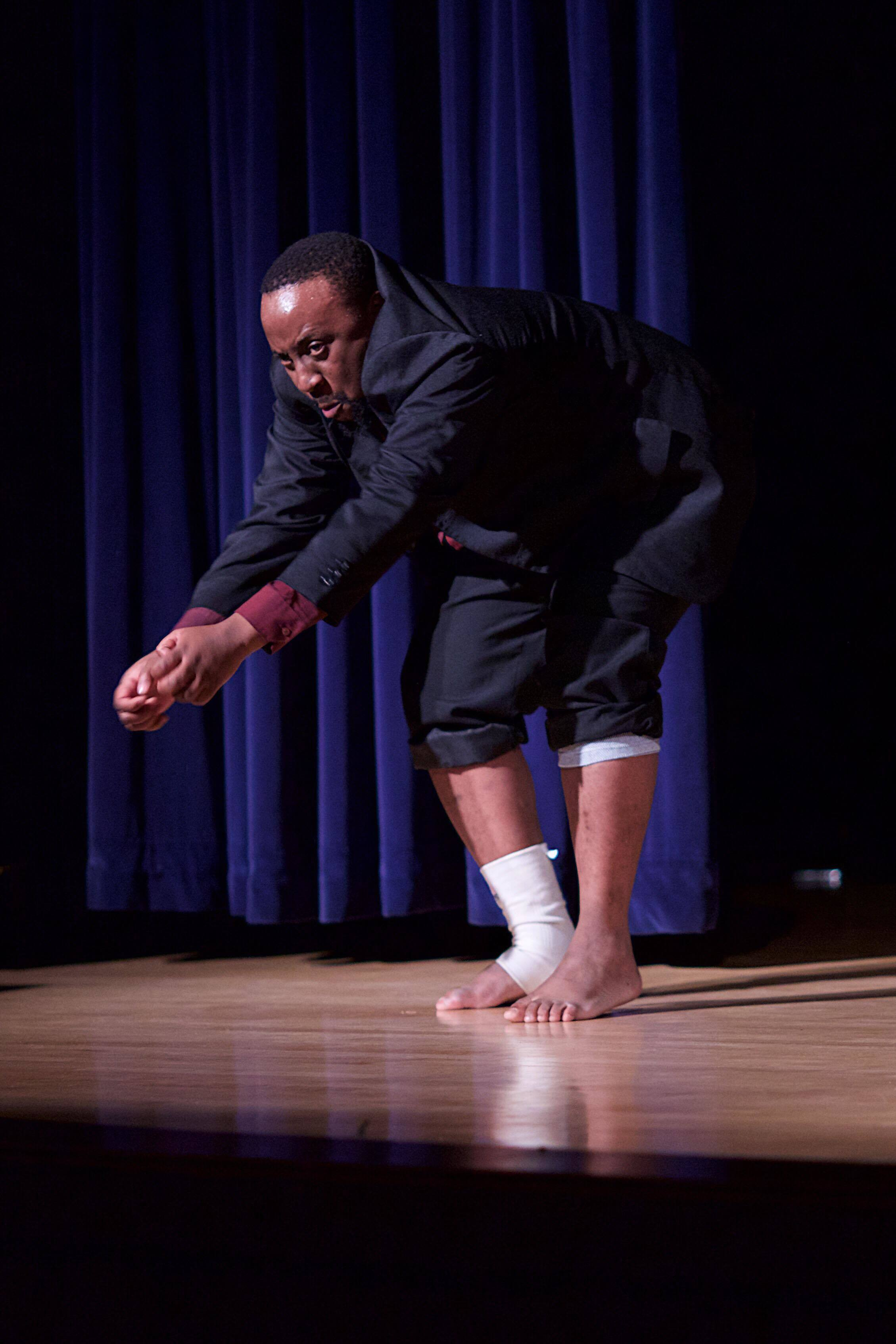 Miyambo's performance... ...His physicality and next to accurate imitation of the primate all with the unsettling ape sounds is riveting