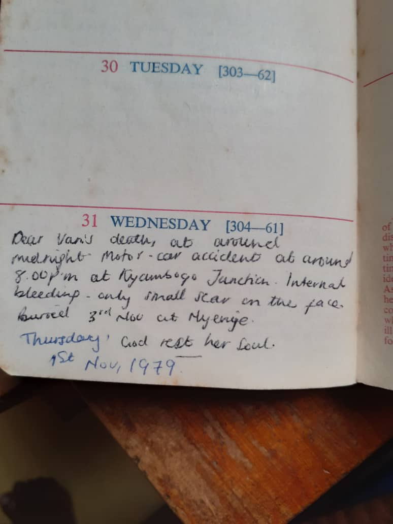 A family member's journal entry about Elvania Namukwaya's death.